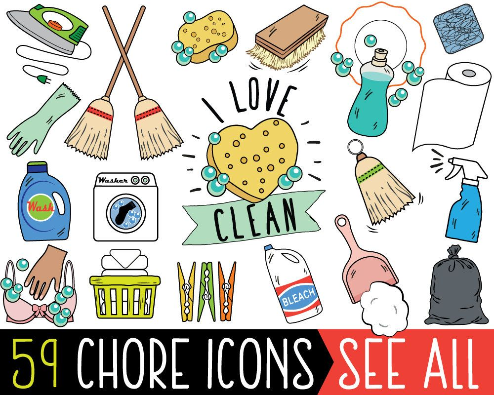 small resolution of chore clipart jumbo bundle chore planner stickers chore bullet journal printable chore stickers cleaning clipart chore clip art by katybeedesign on