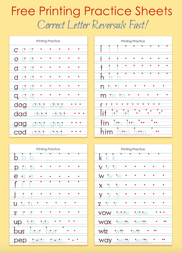 Free Printing Practice Sheets To Help Correct Letter Reversals From  Flandersfami… Writing Practice Sheets, Printing Practice Sheets, Handwriting  Practice Sheets
