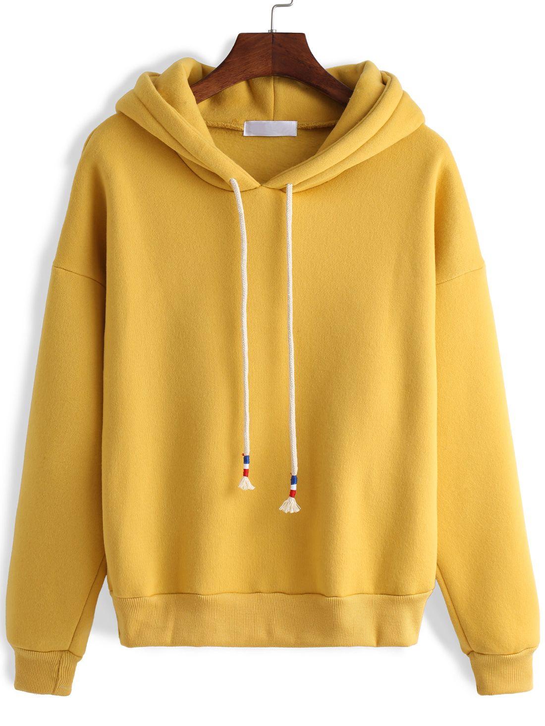 Hooded Zipper Loose Yellow Sweatshirt | sweatshirts ...