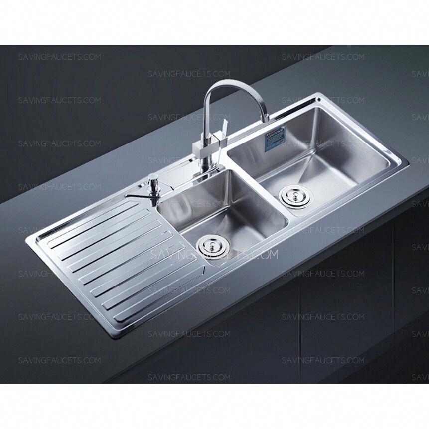 Modern Style Double Bowl Kitchen Sink With Drainboard Modernkitchensinkdishes Modern Kitchen Sinks Kitchen Sink Install Drainboard Sink
