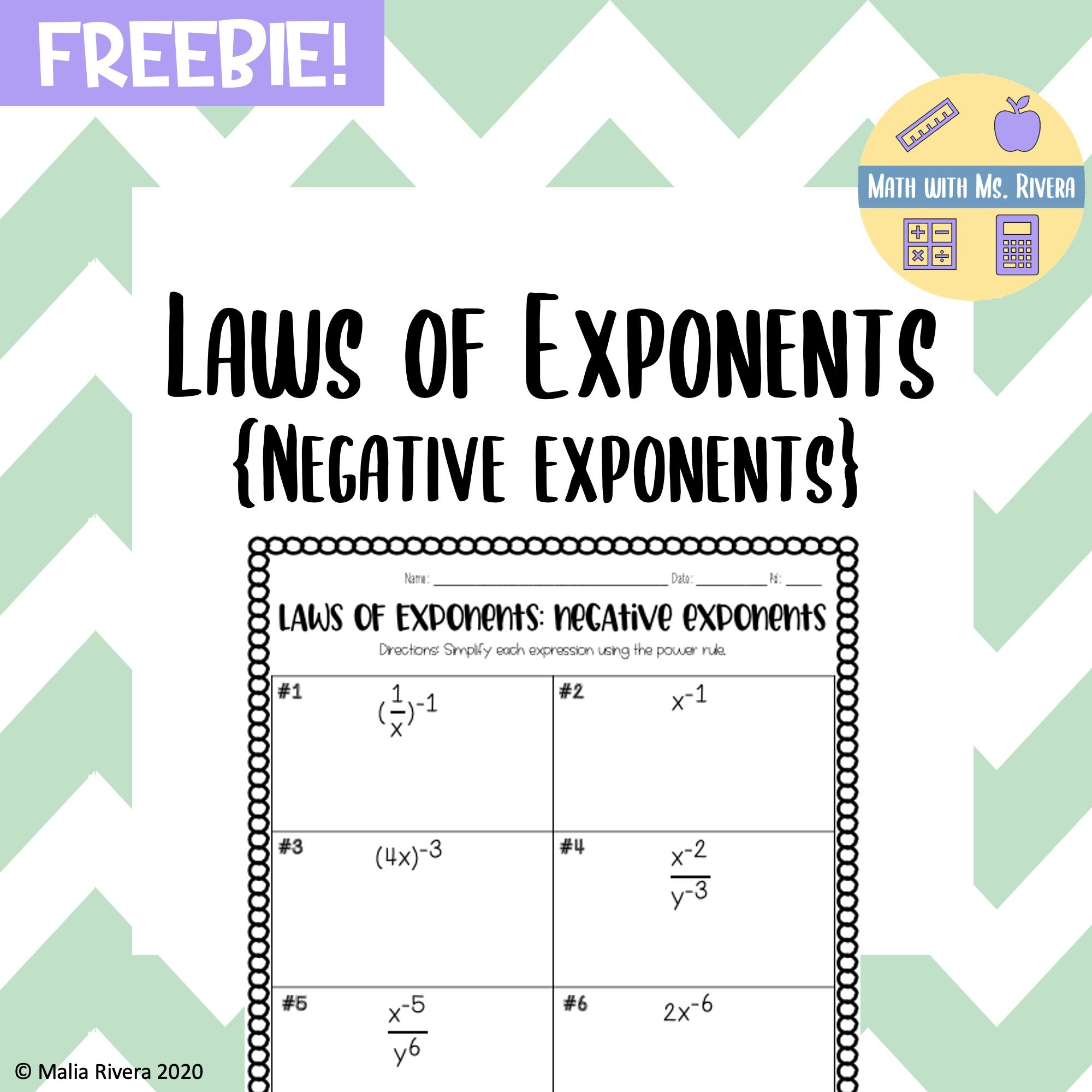 Laws of Exponents {Negative Exponents} Worksheet - FREEBIE   Quotient rule [ 2000 x 2000 Pixel ]