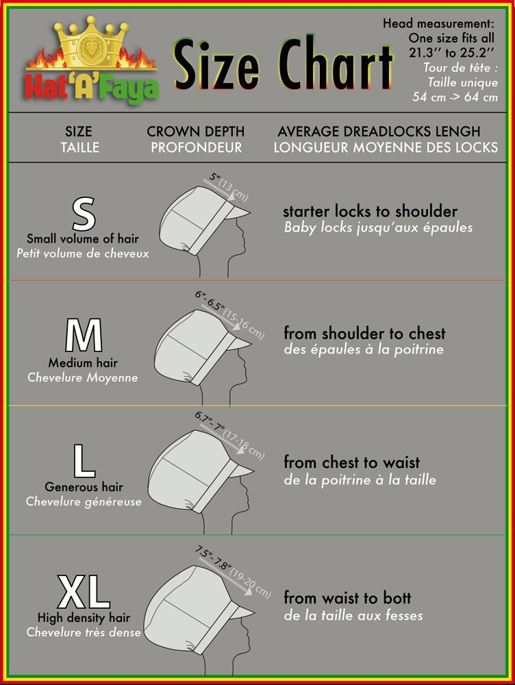 This Is An Indicative Size Chart For Hat A Faya Crowns Dreadlocks Locks Crown