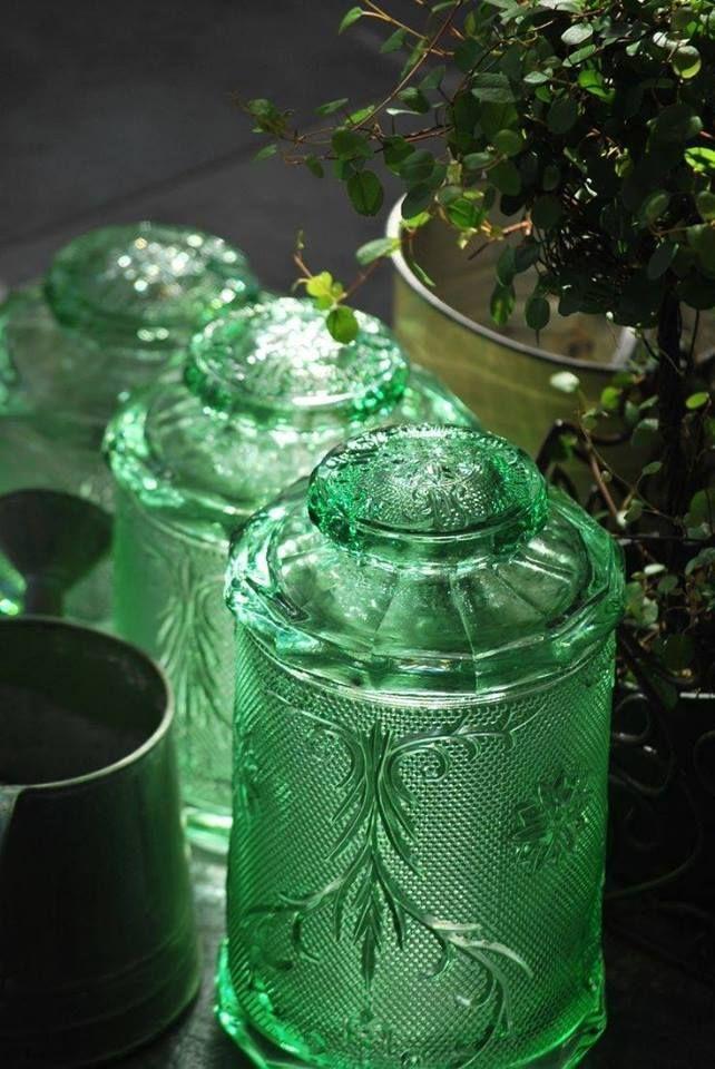 Pretty green storage jars...gsfrenchshabbylife
