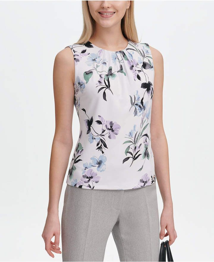 f1bac5f14d298d Calvin Klein Printed Pleat-Neck Top - Green XL in 2019 | Products ...