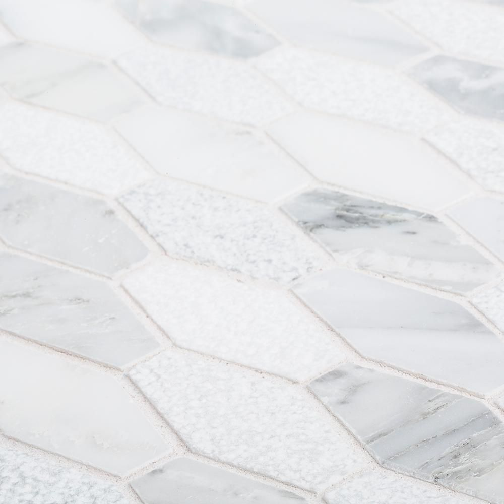 Jeffrey Court Nimbus White 10 25 In X 11 5 In X 10 Mm Hexagon Tumbled Marble Wall And Floor Mosaic Tile 96003 The Home Depot Mosaic Floor Tile Stone Mosaic Tile Stone Mosaic Wall