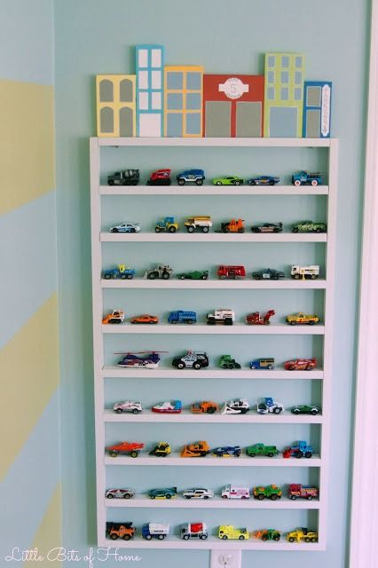 Toy Car Storage Shelf Wall Garage With Wood Block Buildings Little