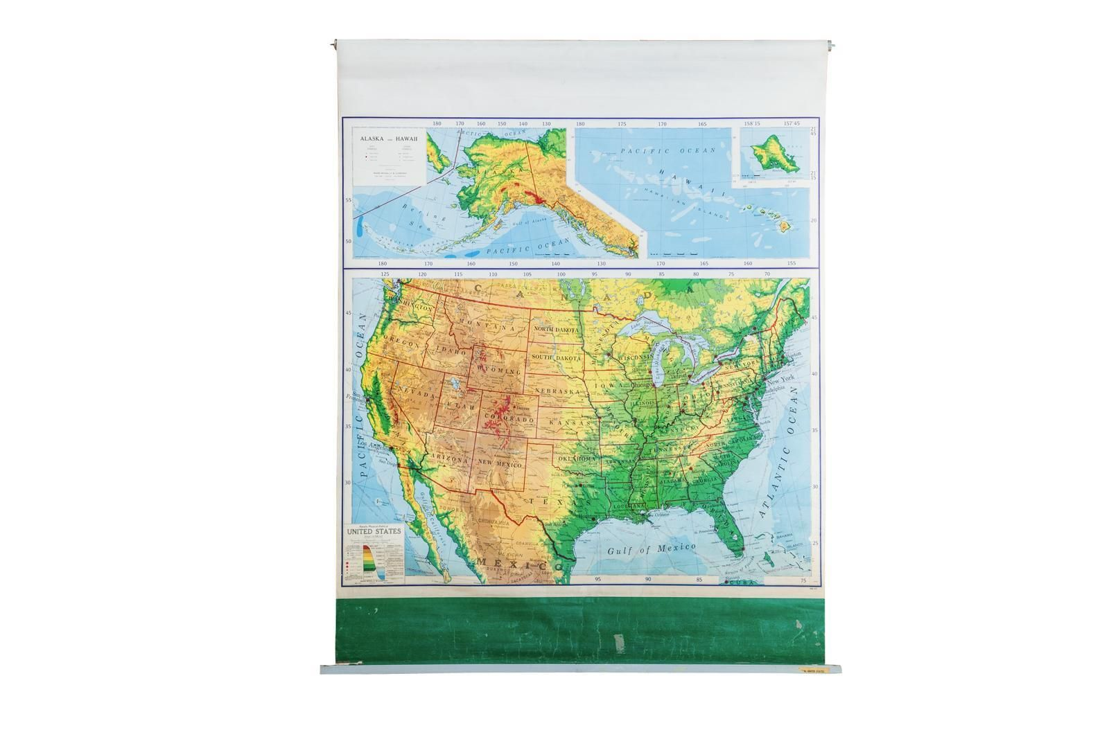 A Vintage 1960s Pull Down Map Of The United States By Ranally A