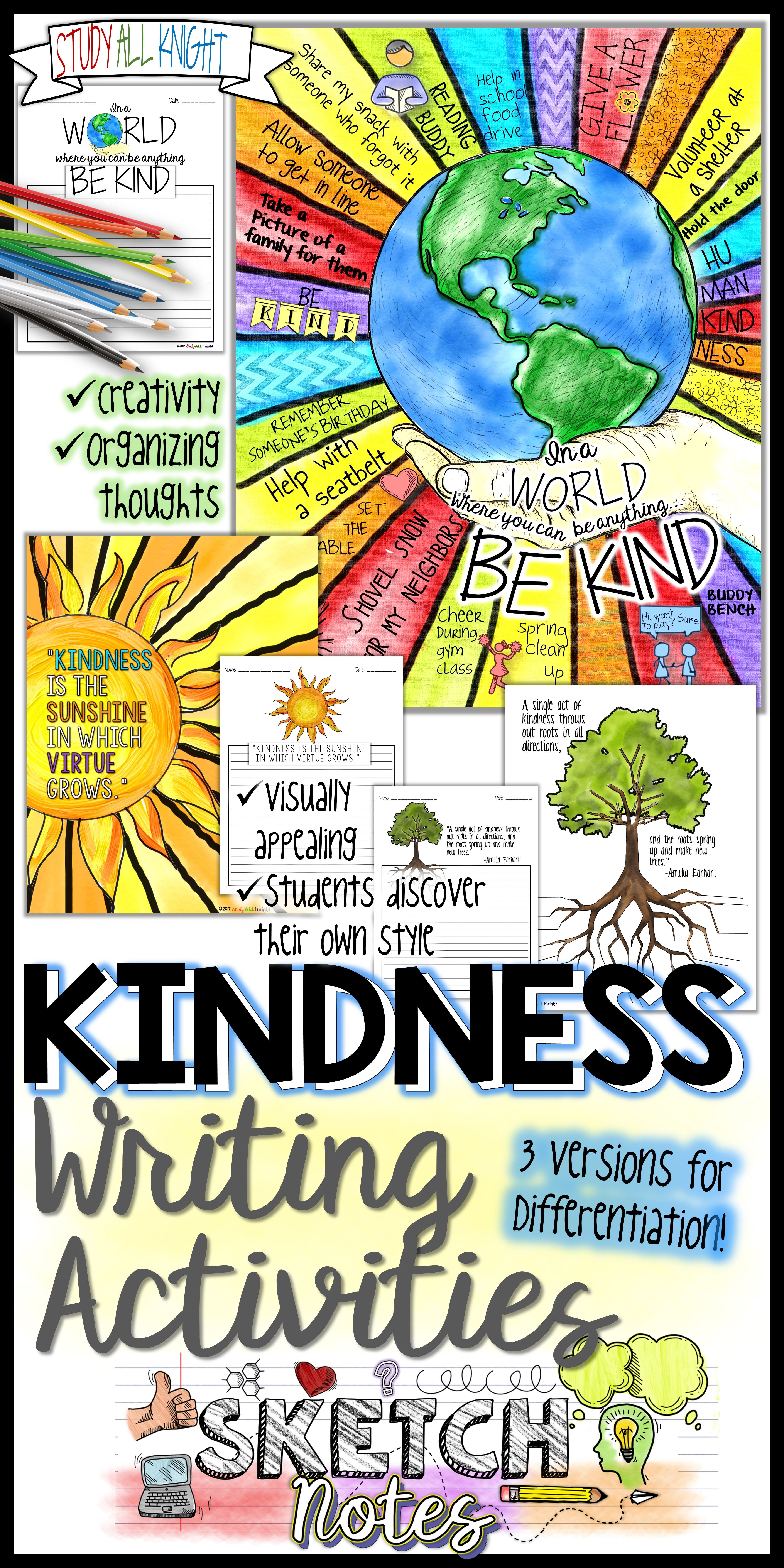 Kindness Writing Activity Sketch Notes Quotes Choices