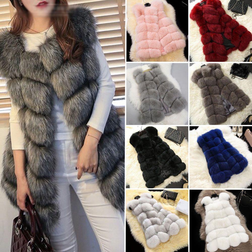 Womens Faux Fur Vest Waistcoat Gilet Sleeveless Winter Warm Jacket Coat Outwear
