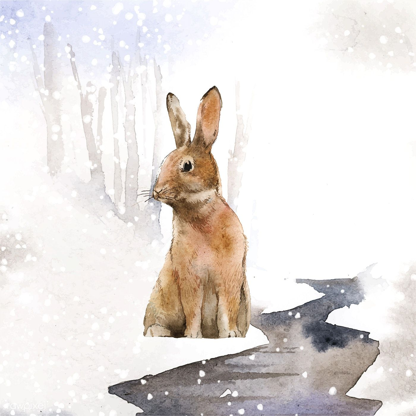 Wild hare in a winter wonderland painted by watercolor