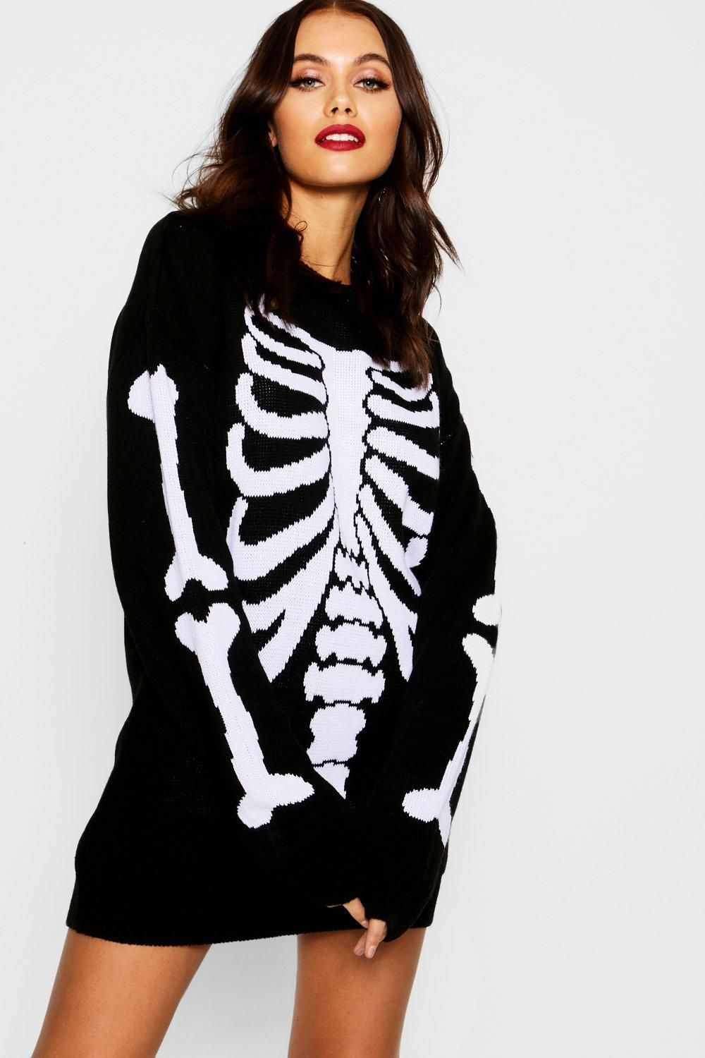 e1e868f4d7779 Click here to find out about the Halloween Skeleton Knitted Jumper Dress  from Boohoo, part of our latest Knitwear collection ready to shop online  today!
