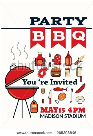 grilled bbq party icon style for invitation card or flyer or - bbq flyer