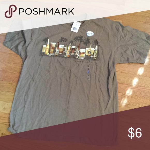 """Brown screen tee New with tags from kohls. Says """"never go thirsty"""". No trades. My closet is buy one get one free. Bundle and get 4 free items and 20% off!! Shirts Tees - Short Sleeve"""