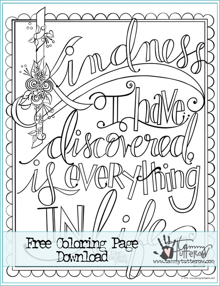 Crafty Tbt Free Coloring Page Kindness Is Everything Remastered
