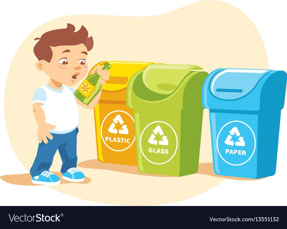 Little Boy Recycling Garbage Royalty Free Vector Image Recycling Teaching Clipart Recycling Activities