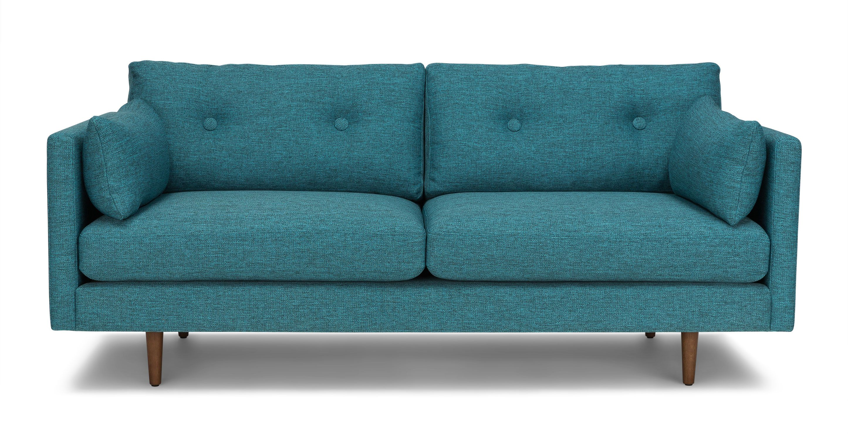 Turquoise Tufted Sofa Solid Wood Legs