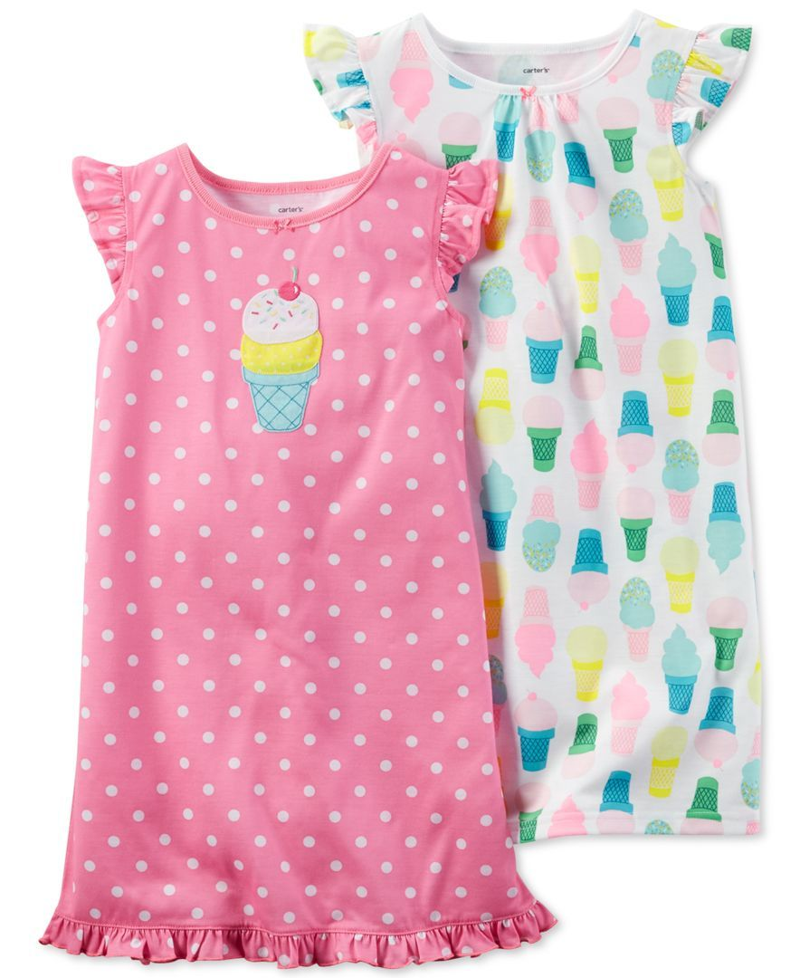 be86dbdd60 Carter s Girls  and Little Girls  2-Pack Ice Cream Cone Nightgowns ...