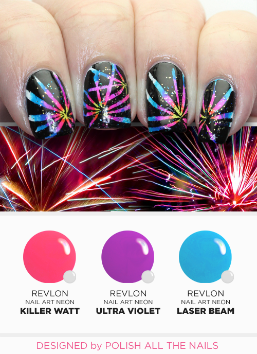 Fireworks manicure - Polish All the Nails Nail Art Tutorial for Revlon - Fireworks Manicure - Polish All The Nails Nail Art Tutorial For
