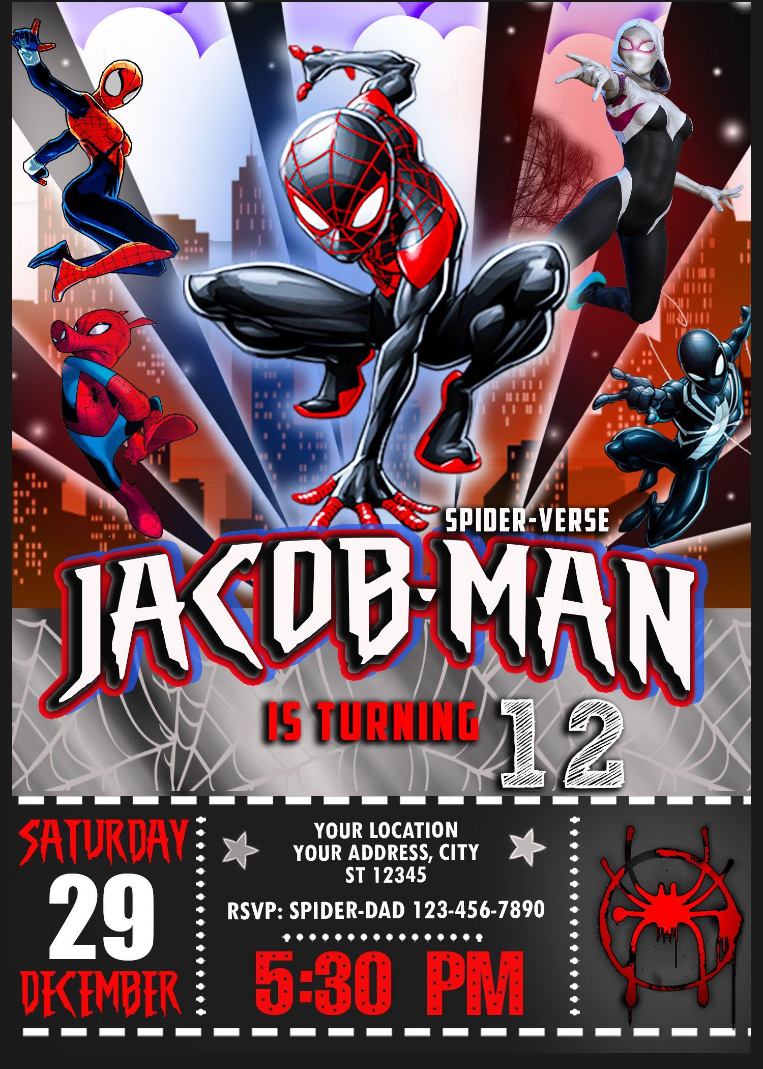Spider Man Into The Spider Verse Birthday Invitation 2 Amazing Designs Us Spiderman Birthday Invitations Spiderman Birthday Superhero Birthday Invitations