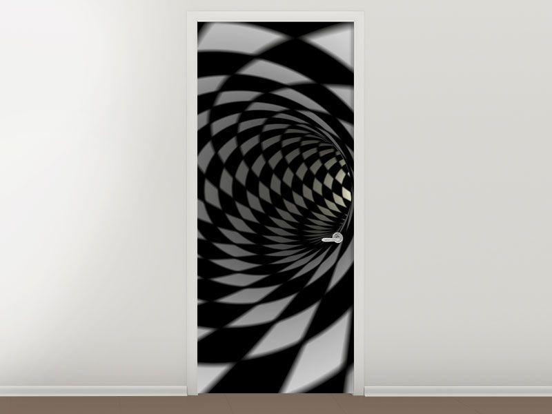 Tür #Tapete Abstrakter Tunnel Black & White