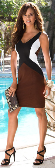 Tanned chocolette in chocolate/B&W color panel tank sheath dress, strappy…