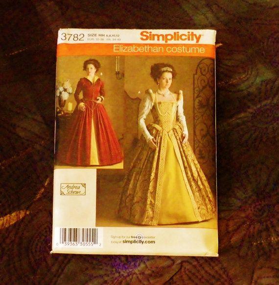Dress Elizabethan Tudor  Costume Pattern 3782 Sz by SewStitchQuilt, $9.00