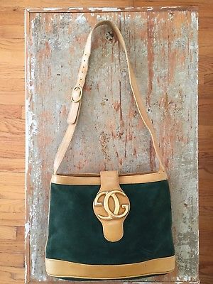 56b4f5cfd58 Authentic VTG Gucci Green Yellow Suede Leather GG Shoulder Bag-RARE ...