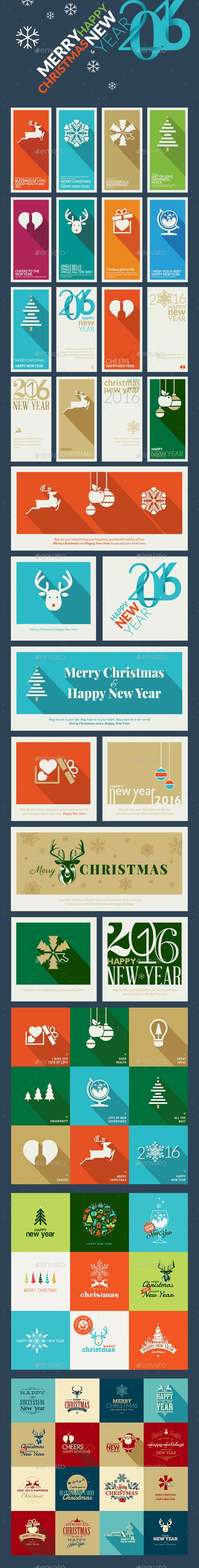 Flat Design Christmas And New Year Greeting Cards  Greeting Card