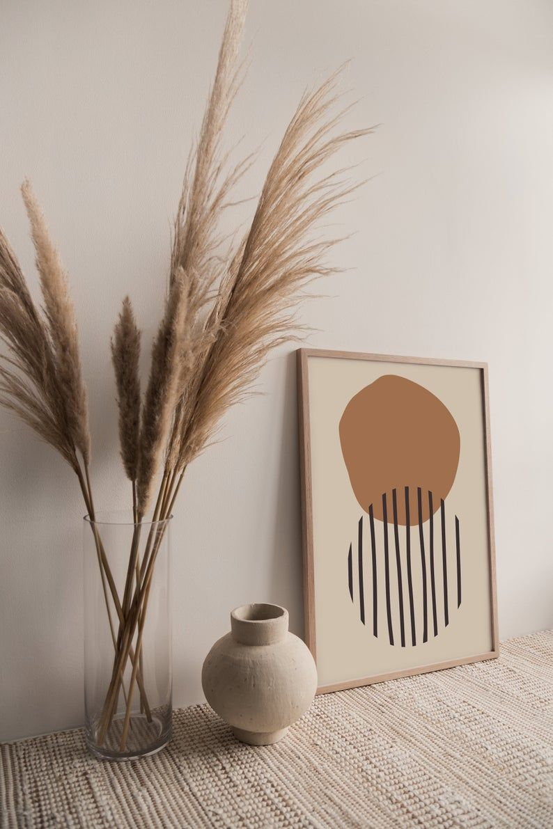 Abstract Printable Wall Art, MidCentury Modern Wall Art, Scandinavian Decor, Burnt Orange Digital Do