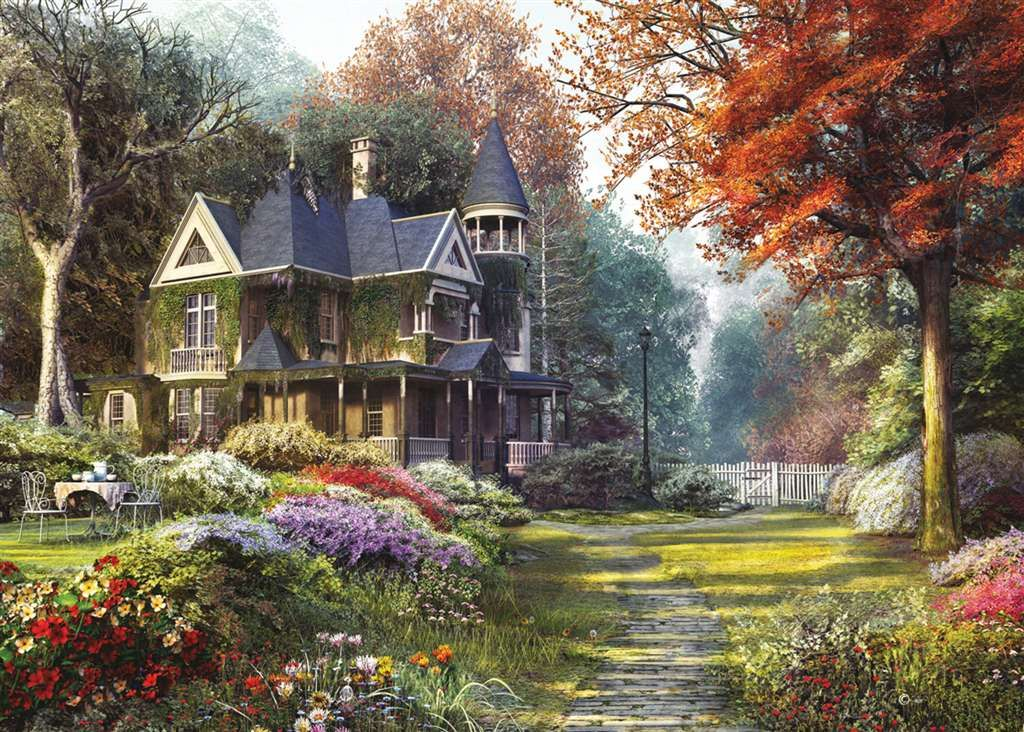 Victorian garden painting by dominic davison 1000 piece for Victorian garden house