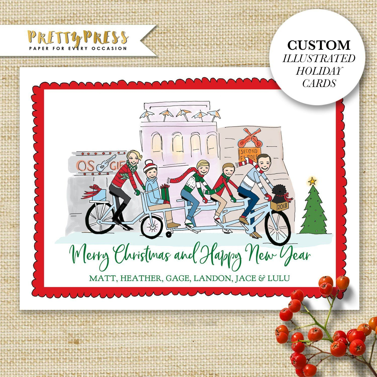 Personalized Christmas Cards -2020 Custom Illustrated Holiday Cards, Family Portrait Christmas Cards