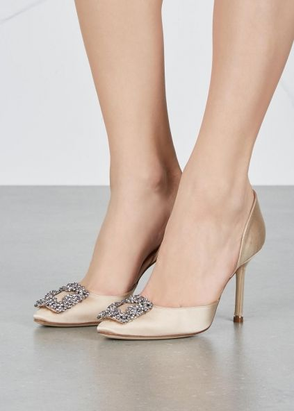 5070ac4f3bf8 Hangisi 90 champagne satin d Orsay pumps