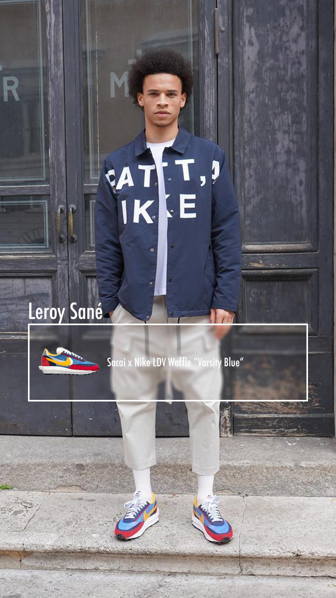 Leroy Sane Sacai X Nike Ldwaffle Varsity Blue Mens Casual Outfits Men Casual Hip Hop Outfits