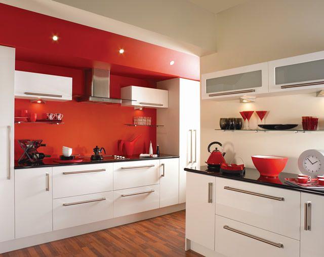 Download Wallpaper Red White Kitchen Ideas