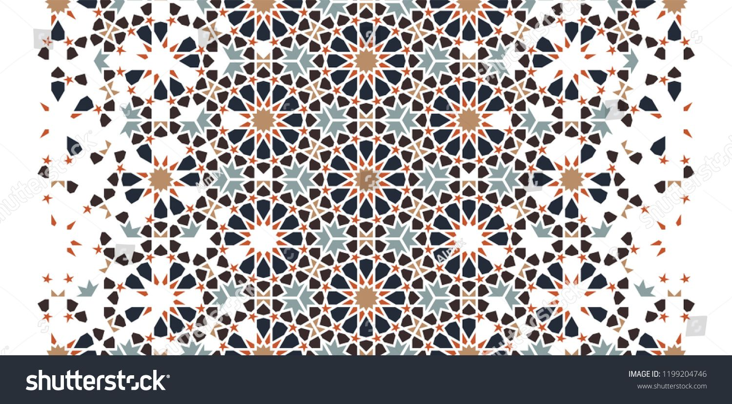 Arabesque Seamless Vector Pattern Geometric Halftone Texture With Color Tile Disintegration Or Breaking Spons Vector Pattern Mosaic Patterns Geometric Vector