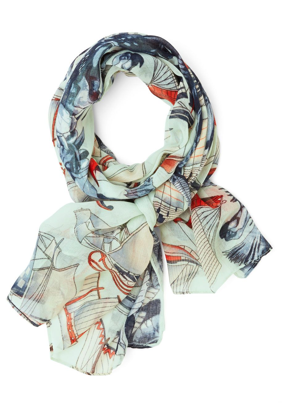 Setting Sail Scarf. Accessorize with this nautical printed scarf, and youll sail smoothly towards an ensemble thats anchored in charm! #blue #modcloth