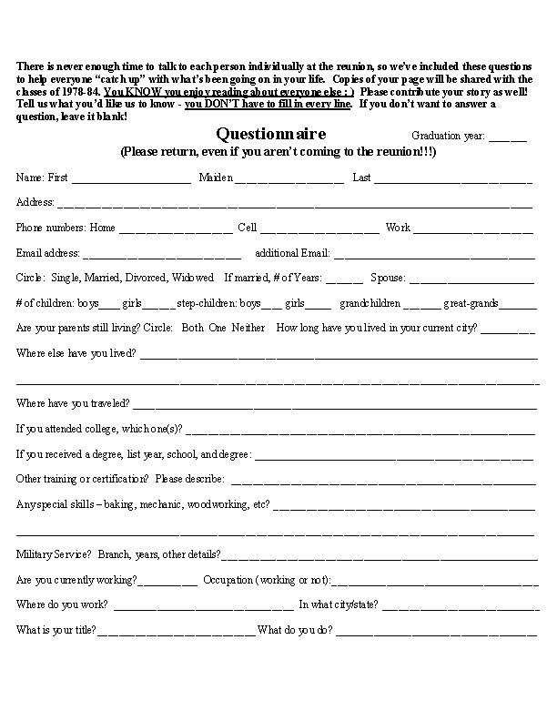 high school reunion questionnaire posted by lisa dragoo at 745 pm