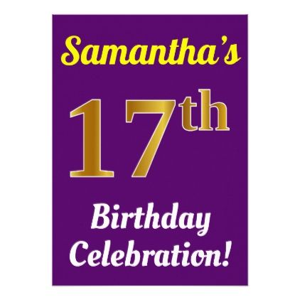 Purple Faux Gold 17th Birthday Celebration Name Card - invitations personalize custom special event invitation idea style party card cards