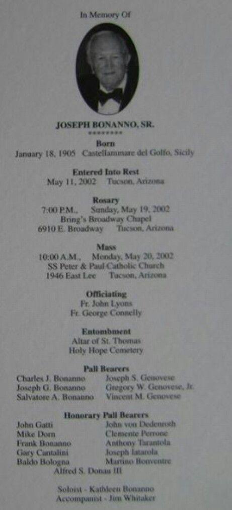 Joe Bonnano memorial card