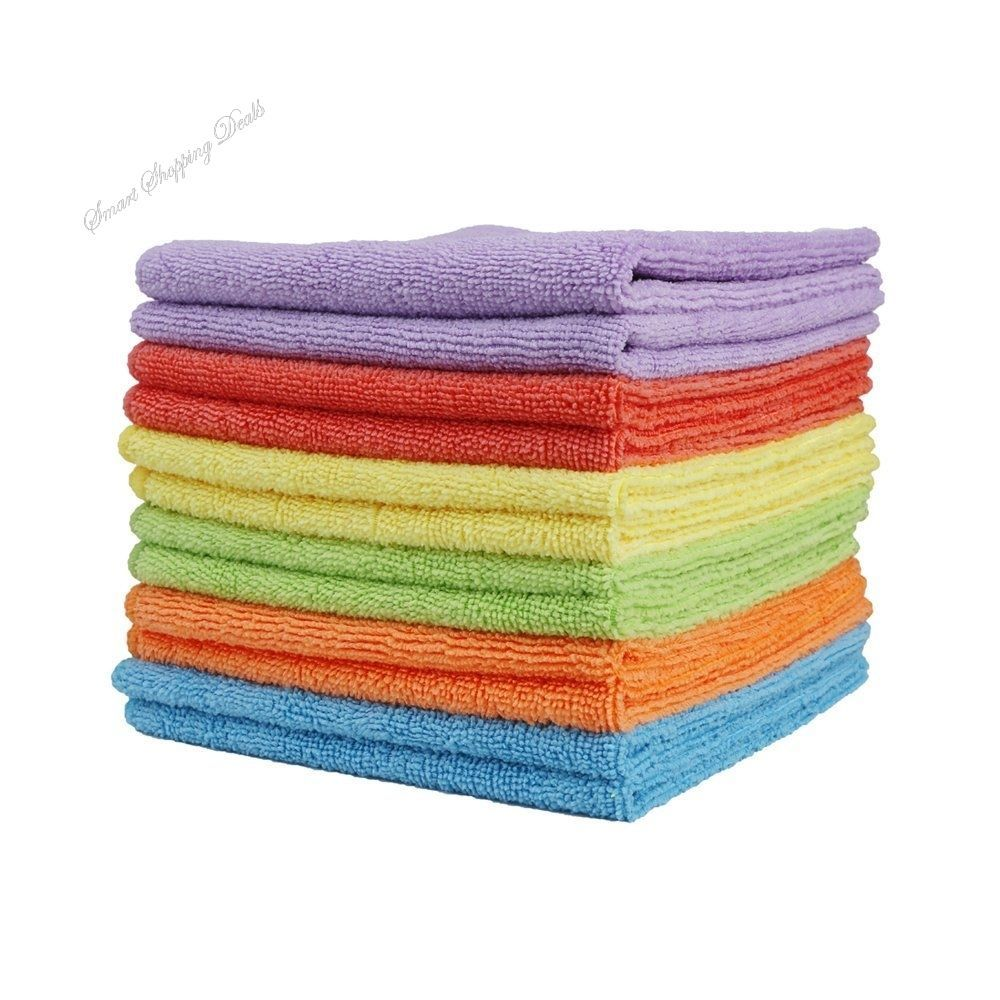 Microfiber Cleaning Cloths Kitchen Dish Towel With Poly Scour Side Bath Towels