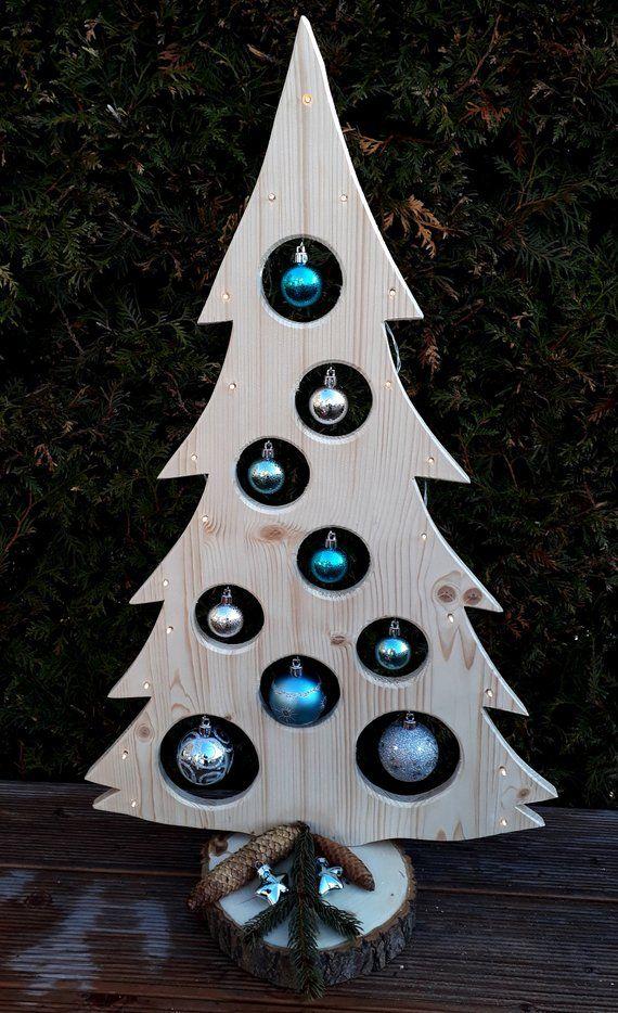 Weihnachtsbaum Holzdeko LED Advent Weihnachtsdeko Baum Kugeln Beleuchtung