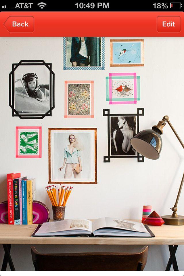Washi tape frames for dorm