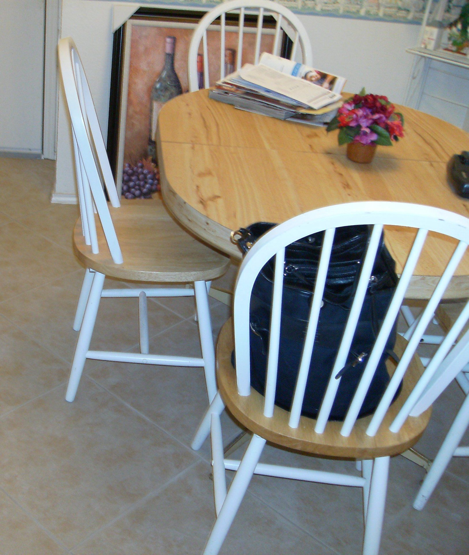 Kitchen Table and Chairs in Redecorated's Garage Sale in Fort Worth , TX for $100. Butcher Block Table with Leaf and 4 Butcher block and White Chairs.