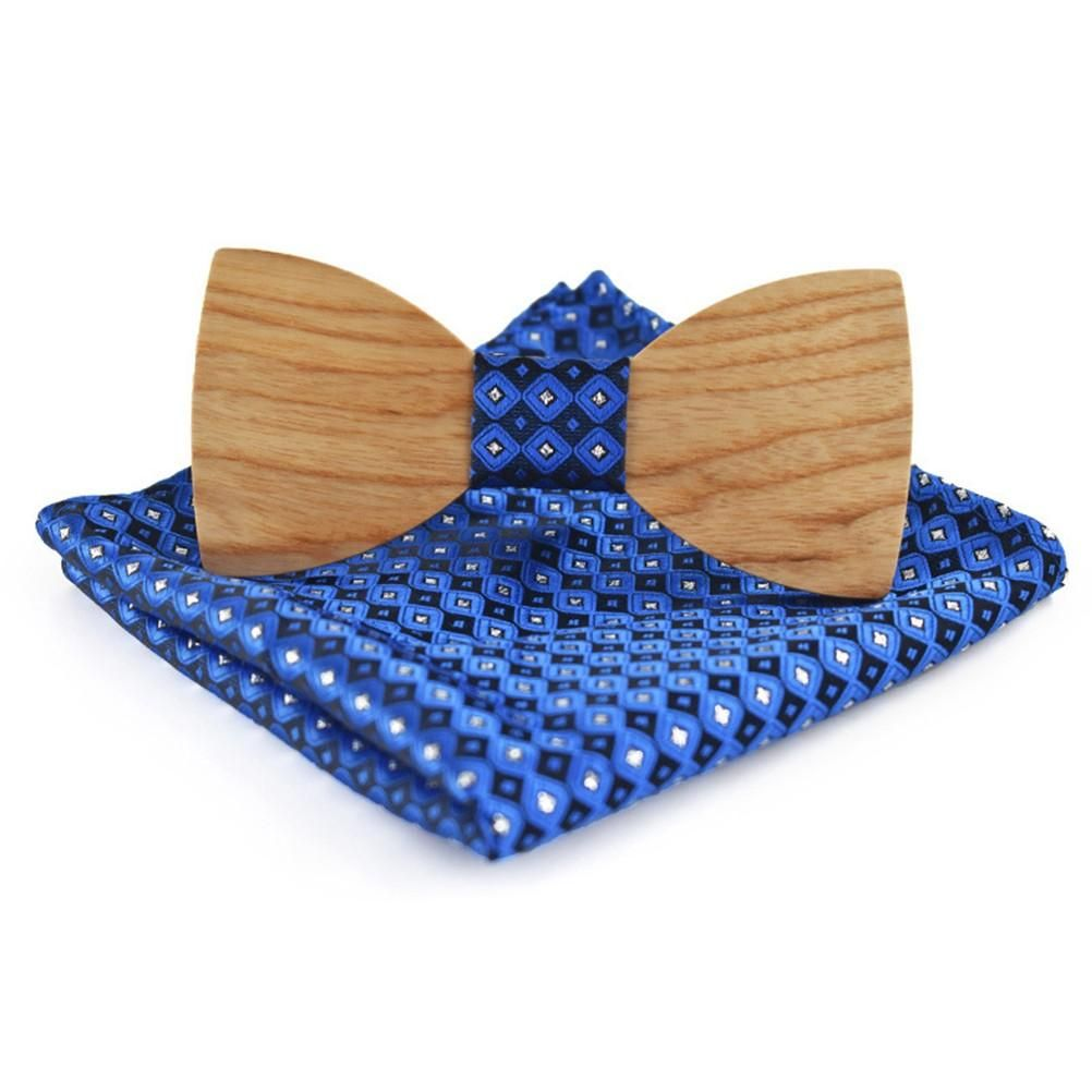 bd268addf450f Classic Handmade Wood Bow Tie with Matching Pocket Square Men's Lapel  Flower Set Creative Wedding Wooden Necktie Customized Solid Wood Bow Tie