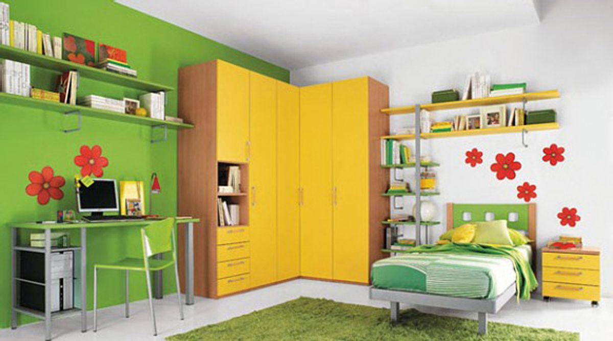 ravishing Girls Room Design With Yellow Cabinets And Green Learn ...