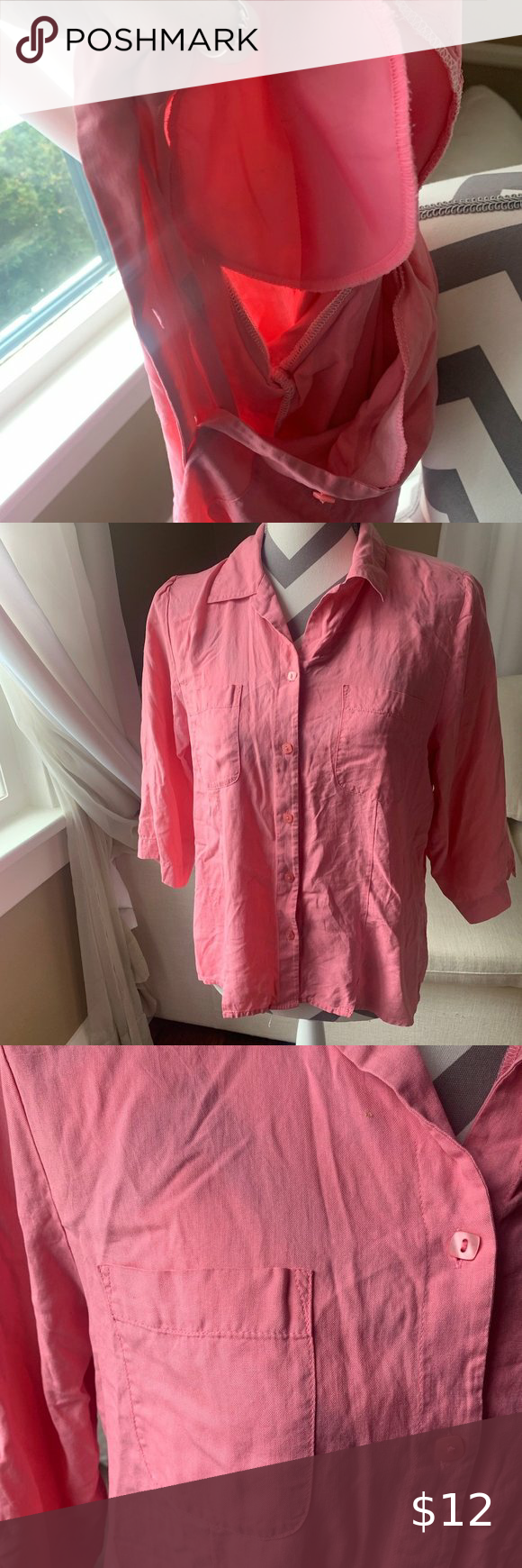 womens pink pocket button t shirt/top Needs a new home 🏡 Make an offer please!  See photos for more info  I am happy to answer and questions you ma…