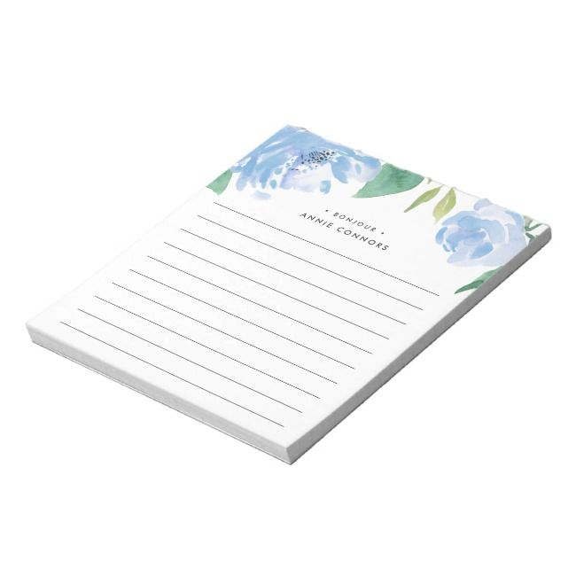 Blue Peony | Personalized Lined Notepad | Zazzle.com #bluepeonies