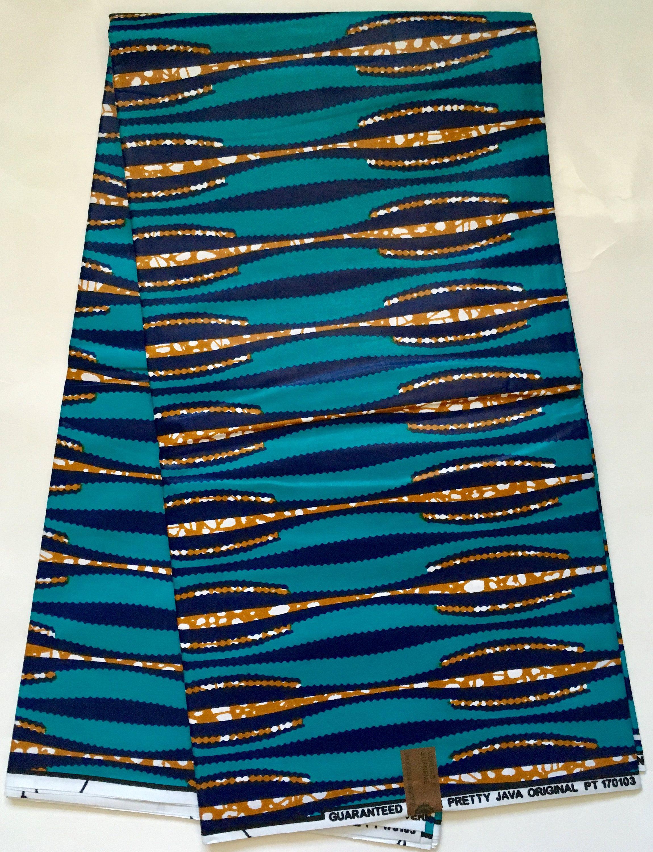 African Print Fabric/ Dutch Wax/ Ankara - Blue, Brown \'Eye of the ...
