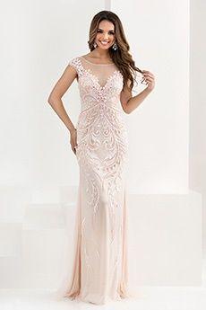 Sheath/Column Jewel Sweep/Brush Train Tulle Prom Dress