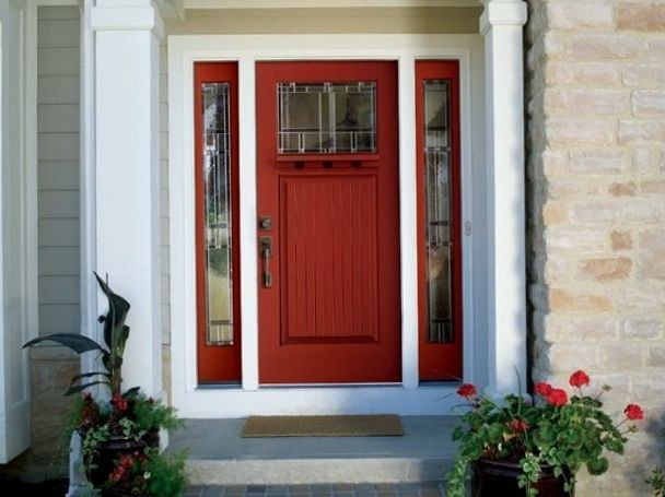 Tan house with red door outdoor home ideas pinterest tan house doors and front doors - Good exterior house paint pict ...